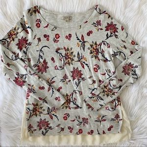 Lucky Brand Floral Layered Waffle Knit Sweater